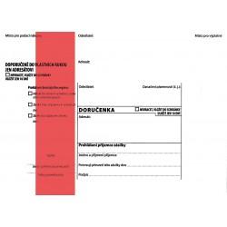 Doručenka B6/1000 červený pruh NCR-s poučením NCR KRPA