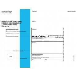 OBÁLKY s doručenkou – dodejkou C5 zkrácená, modrý pruh, text 162 x 217