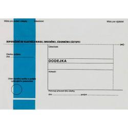 Dodejka B6/1000  - modrý pruh -DOPORUČENĚ do vlastních rukou,zmocněnci,zák.zástupci