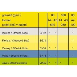 Barevný Xero Papír A3-80gr COLORACTION Canary stredně žlutá - 500listů
