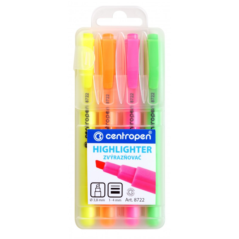 Zvýrazňovač  HIGHLIGHTER 8722/4 sada 1-4