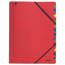 Třídicí desky s gumou 12přihr. Leitz 39120025 červené