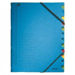 Třídicí desky s gumou 12přihr. Leitz 39120035 modré