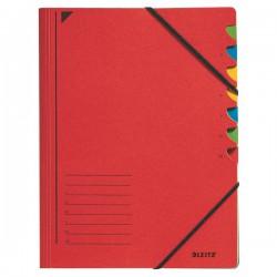 Třídicí desky s gumou 7přihr. Leitz 39070025 červené