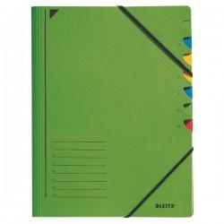 Třídicí desky s gumou 7přihr. Leitz 39070055 zelené