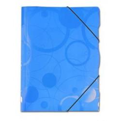 3 klopá složka A4 s gumou PP modrá, kolekce NEO COLORI