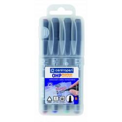 Centropen permanentní popisovač 2638 B pro folie OHP sada 4ks, stopa 1-3 mm