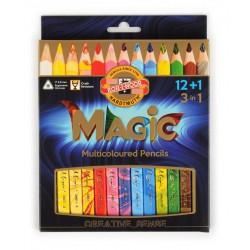 KOH-I-NOOR 3408, souprava pastelek MAGIC trojhraných 12+1