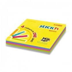 Hopax samolepící bločky Magic, rozměr 76x76 mm, mix 4 neonových barev, 100 lístků