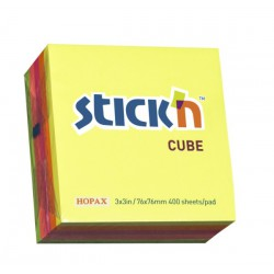 Hopax samolepící kostky Regular Cube, rozměr 76x76 mm, neonově žlutá, 400 lístků