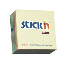 Hopax samolepící kostky Regular Cube, rozměr 76x76 mm, neonový mix, 400 lístků