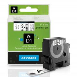 DYMO polyester páska D1 24mm x 7m, bílá na černé