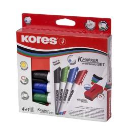 Kores popisovač na bílé tabule K-Marker, sada 4 barev s houbičkou