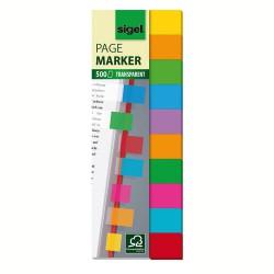 Samolepicí záložky Sigel kolečka, 50x12 mm, 5 barev po 40 útržcích