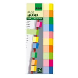 Samolepicí záložky Sigel obdelník, 44x12,5 mm, 10 barev po 50 útržcích