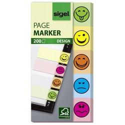 Samolepicí záložky Sigel obdelník, 45x12 mm, 5 barev po 40 útržcích, Z - Notes Marker
