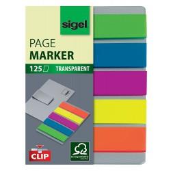 Samolepicí záložky Sigel šipka, 45x12 mm, 5 barev po 40 útržcích