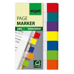 Samolepicí záložky Sigel obdelník, 50x12 mm, 5 barev po 25 útržcích s klipem