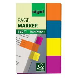 Samolepicí záložky Sigel extra silný plast, 26x20 mm, 6 barev po 5 útržcích, Conceptum Pagemarker