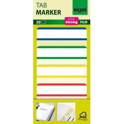 Samolepicí záložky Sigel extra silný plast, 38x25 mm, 6 barev po 10 útržcích barevný okraj
