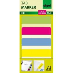 Samolepicí záložky Sigel extra silný plast, 50x38 mm, 4 barvy po 5 útržcích, barevný okraj