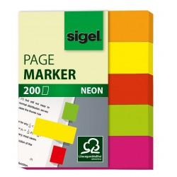Samolepicí záložky Sigel obdelník, 50x20 mm, 4 barvy po 40 útržcích, celobarevné