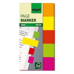 Samolepicí záložky Sigel obdelník, 50x12 mm, 5 barev po 40 útržcích, neon celobarevné