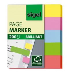 Samolepicí záložky Sigel obdelník, 50x20 mm, 5 barev po 40 útržcích, neon celobarevné