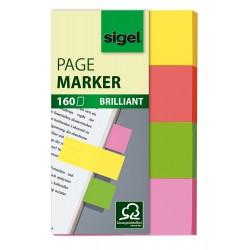 Samolepicí záložky Sigel obdelník, 50x12 mm, 5 barev po 40 útržcích, pastelové barvy