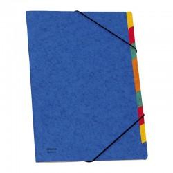 Donau třídící desky s gumičkou, modré, 9 částí, karton, formát A4