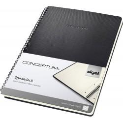 Sigel Conceptum, Spirálový blok, tvrdé desky, černá, A4, čtverečkovaný, 80 listů