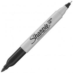 """Sharpie, Permanentní popisovač """"Twin Tip"""", oboustranný, kuželový hrot, černý"""