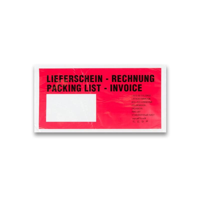 Expediční dokumentní obálka DL červený potisk - kapsa nalepovací