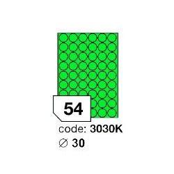 Rayfilm R0120.3030KA kulaté zelené samolepící etikety průměr 30 mm A4, 100 listů