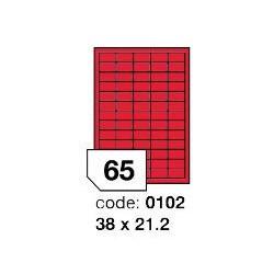 Rayfilm R0122.0102A červené samolepící etikety 38x21,2 mm A4, 100 listů