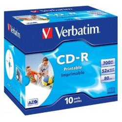 Verbatim Disk CD-R 52x, 700MB potiskovatelný, Wide Inkjet Printable Jewel box