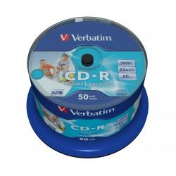 Verbatim DataLife Plus Disk CD-R 52x, 700MB potiskovatelný, wide printable 50ks spindl