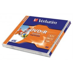Verbatim DataLife Plus Disk DVD-R 16x, 4.7GB potiskovatelný, printable jewel box, 10ks v bal.