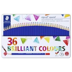 Staedtler karat aquarell 125, profesionální sada pastelek akvarelových, 36 barev, kovová krabička