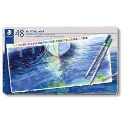 Staedtler karat aquarell 125, profesionální sada pastelek akvarelových, 48 barev, kovová krabička