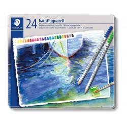 Staedtler karat aquarell 125, profesionální sada pastelek akvarelových, 24 barev, kovová krabička