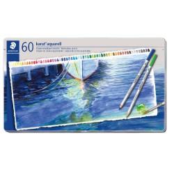 Staedtler karat aquarell 125, profesionální sada pastelek akvarelových, 60 barev, kovová krabička