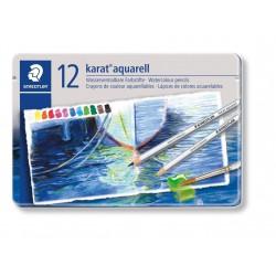 Staedtler karat aquarell 125, profesionální sada pastelek akvarelových, 12 barev, kovová krabička
