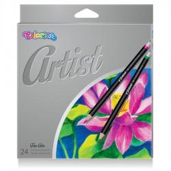 Colorino Artist pastelky dřevěné, kulaté, kovový box, 24 barev