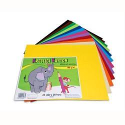 Kreslicí karton barevný formát A4, 180g, 12x5 listů, mix barev