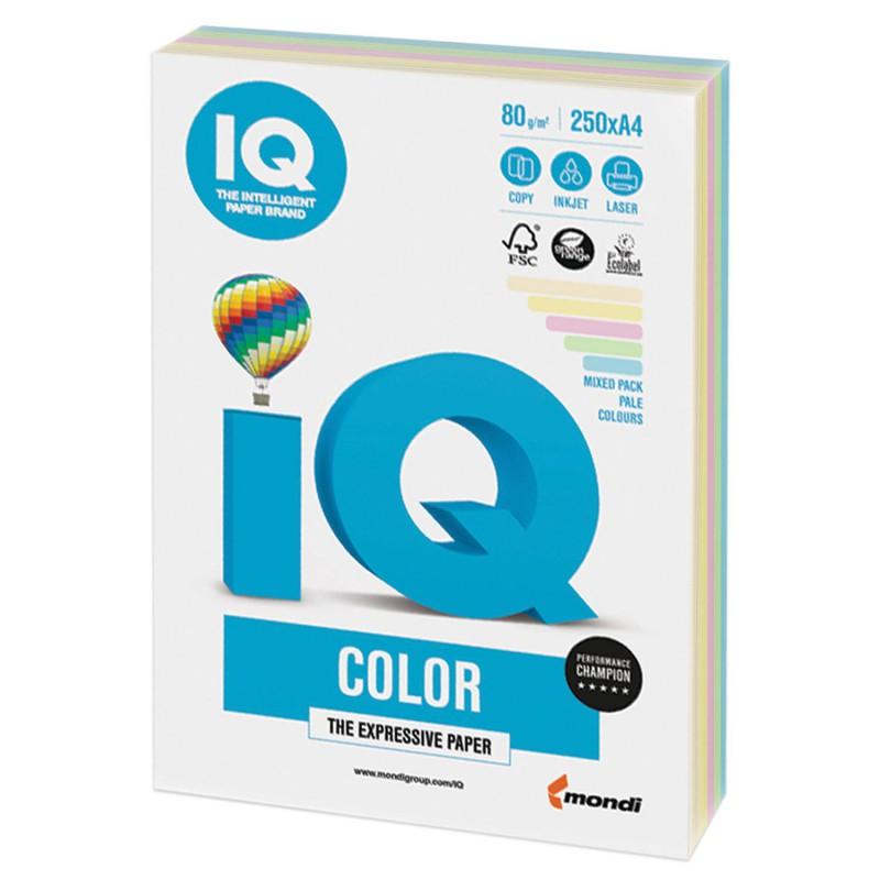IQ Color barevný papír A4/80g mix intenzivních barev, 5x50 ks