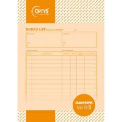 OPTYS 1097, Dodací list A5, samopropisovací, lepení v hlavě