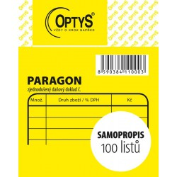 OPTYS 1100, Obchodní paragon, samopropisovací, 7,5 x 9,5 cm