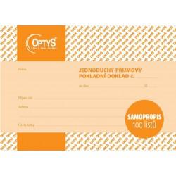 OPTYS 1302, Příjmový doklad A6, jednoduchý, samopropisovací, 100 listů