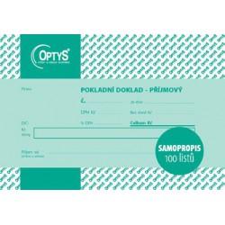 OPTYS 1068, Příjmový doklad s DPH A6, jednoduchý, samopropisovací, 100 listů